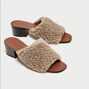 ZARA Faux Fur Heeled Mules